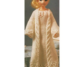Barbie Sindy Vintage Fashion Doll Nightie and Negligee Set-  PDF knitting pattern