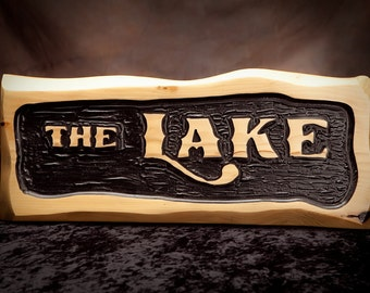 Nautical Carved Lake Sign