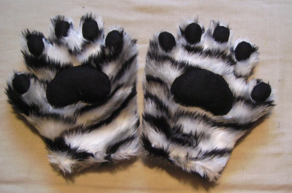 Reserved For Sanora White Tiger Gloves with black pads and fleece lining