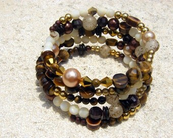 Browns, Golds, Cream and Woods Memory Wire Bracelet