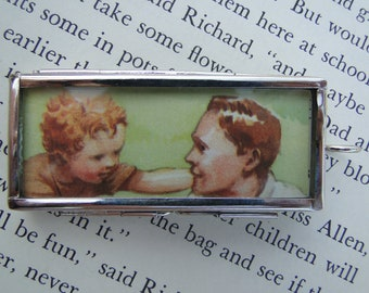 Father Son Redhead Illustration Vintage Music Pendant Double Sided