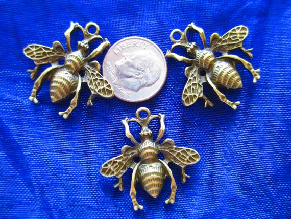 items similar to 3 metal bees for jewelry making on etsy
