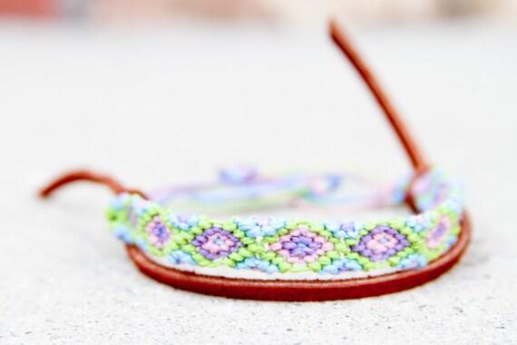 Pastels Tribal Diamond Pattern Bracelet OAK Christmas Gift, for her, stocking stuffers