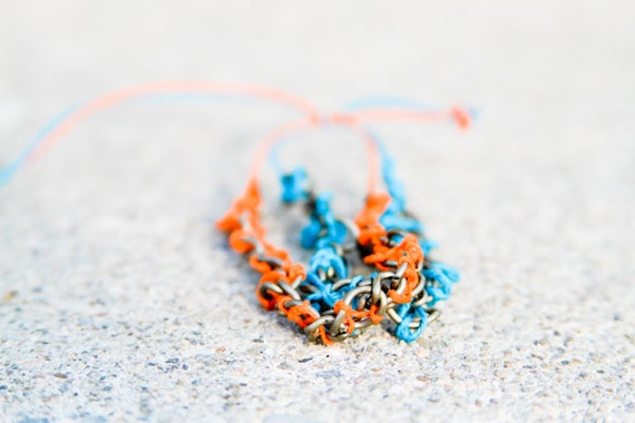 Orange and Turquoise Twine Intertwined in Antique Golden Coloured Chain Bracelet