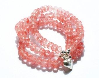 Tourmalin bracelet: Tourmalin (watermelon / pink) silver bracelet with silver heart charm