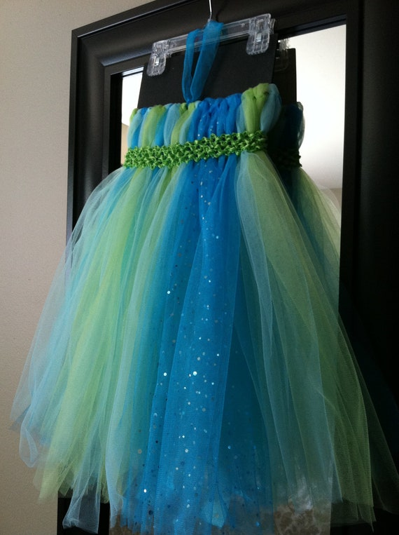 Reserved for ROSIE- peacock, aqua and green toddler tutu dress, 3t