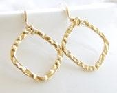 Gold Hammered Hoop Earrings, 14kt Gold Filled, Modern Dangle, Bridesmaid Gifts, Bride Earrings, Beaded Handmade Jewelry under 20 Dollars