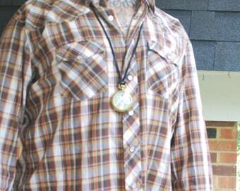 Vintage Western Brown Plaid Pearl Button Shirt