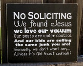 Funny No Soliciting Wood Sign - Girl Scouts Only Please