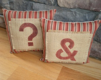 Pillows Set of 2 Punctuation with Ampersand,Accent Pillows, Throw Pillows, Whimsical Pillows, Stripe,Burlap Pillow
