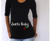 "Christmas Maternity T-shirt/Tee "" Santa Baby""  Stylish 3/4 sleeves Choose your Size S, M,L,XL"
