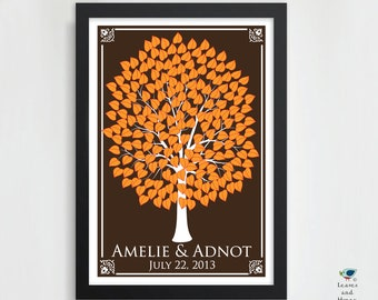 Custom Wedding Guest Book Tree / Bridal Present / Event Guest Book / Alternative Personalized Keepsake Print / 200 Guest / 20x30 HeartLeaf V