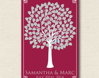 Wedding Gift / Signature Tree Guest Book / HeartLeaf V Tree / Wedding Personalized Poster / 125 Guest 24x36