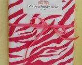 Extra Large Receiving Blanket- Hot Pink Zebra Print
