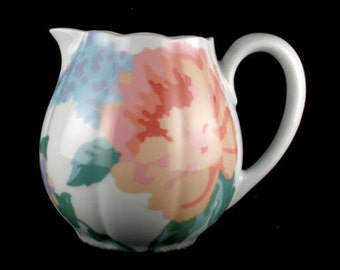Vintage VIctoria Peach and Blue Floral Scalloped by Towle Creamer Royal Limoges-France