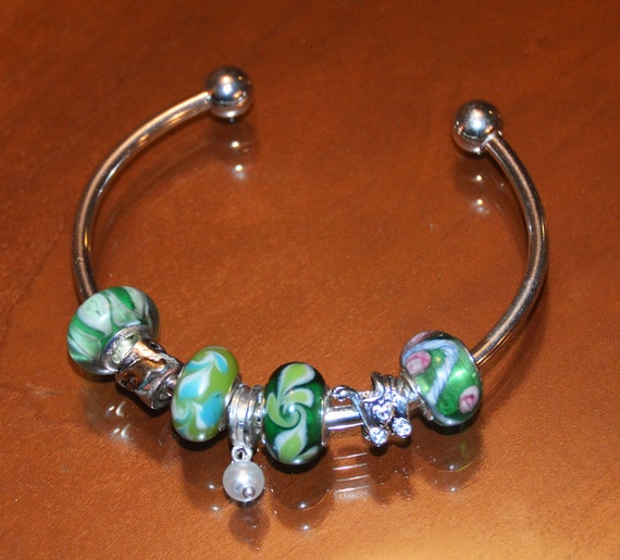 Cuff Style Charm Bracelet with Green Murano Glass .925 Silver Cores and Silver Charms Baby Carriage and Dangle Pearl
