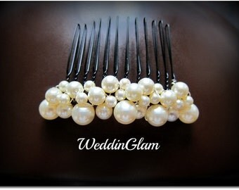 Ivory pearl comb, Wedding Comb, Bridal Hair Comb, Wedding Hair Accessories, Swarovski Pearls, Elegant Headpiece, French comb, formal updo