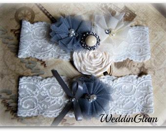 Vintage Bridal Garter Fall Wedding Garter Set Toss Garter included Ivory Gray with Rhinestones and Pearls Custom Wedding colors