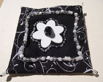 Black and White flower pin brooch