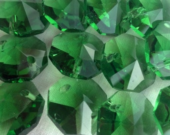 25 Emerald Green Chandelier Crystal Beads Shabby Cottage Chic Crystal Prisms 14mm Christmas Green