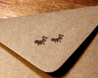 "Two Picnic Ants Rubber Stamp ( 1"" x 1"" )"