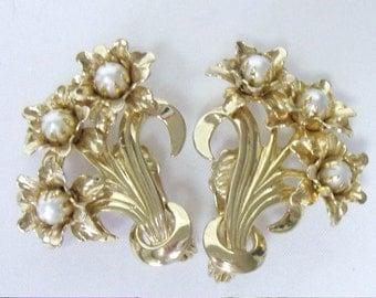 Vintage MARINO Pearl Layered Flower Earrings