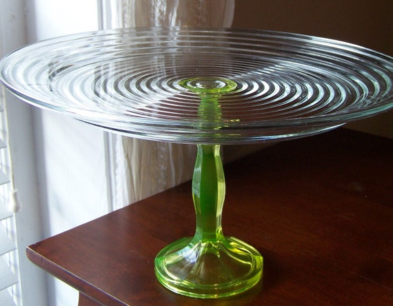 Tall Cake Stand with  Rippled clear glass plate and vintage vaseline yellow pedestal