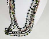 "Multicolor Layers - Mix of beads and Pearls - Bronze Chain - Silver Chain - Gun metal Chain -  Antique Gold Clasp - 17"" long Necklace"