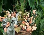 Hidden Birdhouse Floral Basket, Peach Floral Design, Floral Decor, Wicker Basket