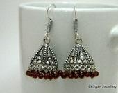oxidised jhumka with maroon beads