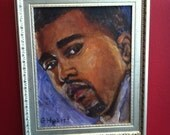 """8 x 10"""" framed oil painting of Kanye West (framed size is about 10 x 12 inches)"""