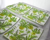 Vera Neumann Napkins, 60s 70s Avocado Green Ferns, Set of 4, Signed , Vintage Kitchen, Free Shipping