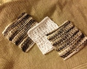 7 x 7 Wash Cloth, Dish Cloth, Facial Cloth, Soft yet Durable, Lasts forever, Exfoliation, Scrubber, White, Earth tones, Eco-friendly