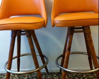 mid century pair orange naugahyde vinyl wood barstool calorator danish eames era mod mad men chair