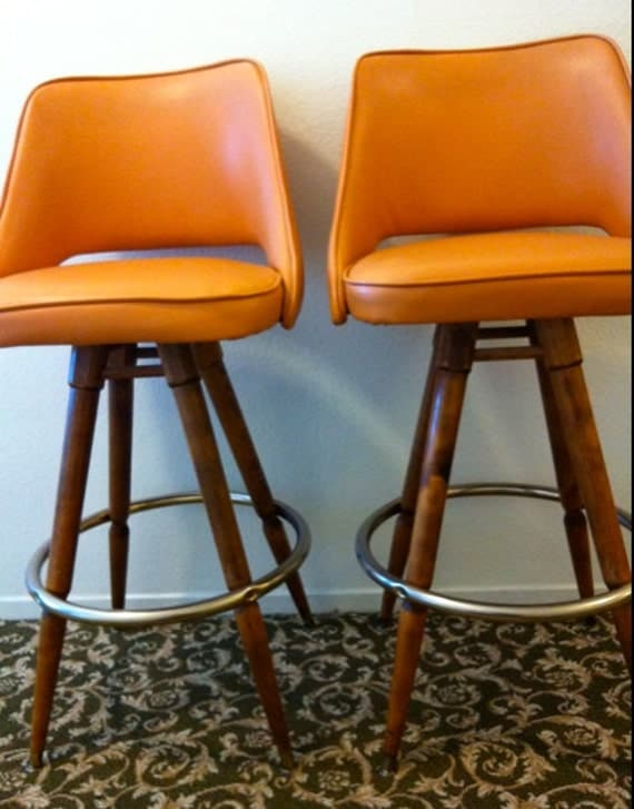 Mid Century Pair Orange Naugahyde Vinyl Wood Barstool