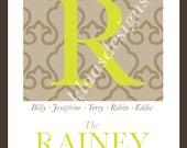 Custom Family Monogram, Typography Art, 11x14 digital print