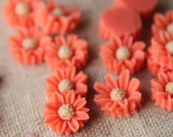 12pcs of resin rose cabochon-10x10x5mm-RC0025-6-cream/orange