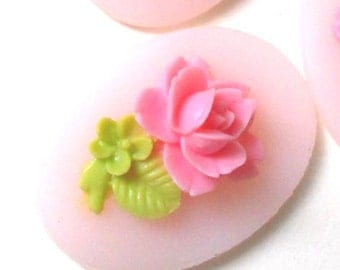 24 pcs of resin pink rose cameo 18x25mm-RC0802