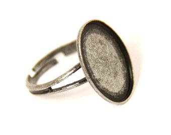 12 pcs of brass ring blank-for 13x18mm cameo-M4011-Antique silver