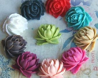 20 pcs of 10 colors of resin rose cabochon-35x35x19mm-RC0065-Mixture color