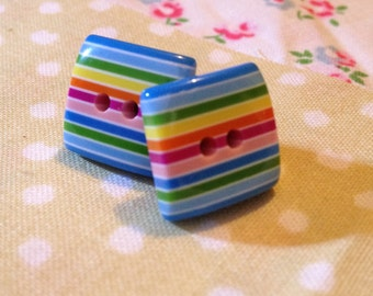 Square rainbow button earrings