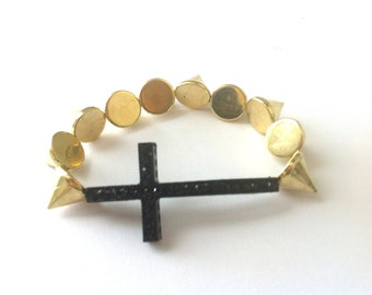 Gold Spike Studded Black Sideways Rhinestone Cross Bracelet