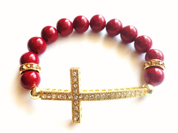 Gold Rhinestone Sideways Cross Dark Red Beaded Bracelet