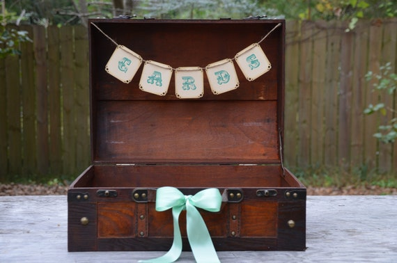 Wedding suitcase card holder, wedding card box, mint wedding, rustic wedding
