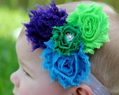 Shades of blue, green and purple Shabby flower headband - Free Shipping