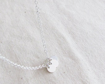 Three Sterling Silver Coins Necklace, Simple Necklace, Bridesmaid Gift Necklace, Dainty Necklace, Small Necklace, Everyday Necklace
