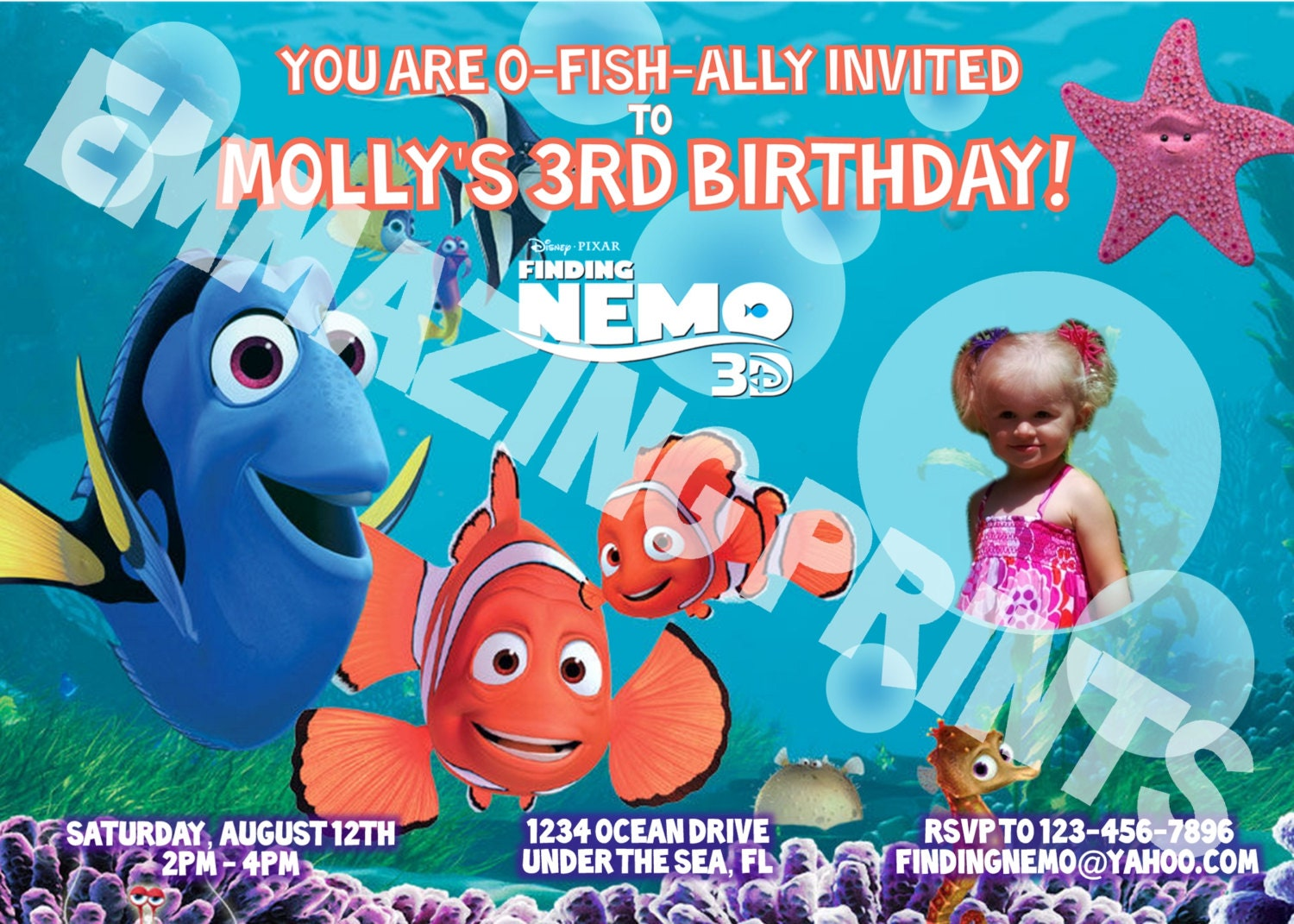 Finding Nemo Birthday Invitations could be nice ideas for your invitation template