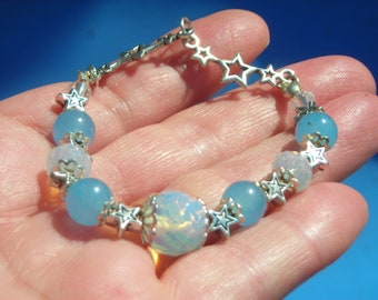 my OPALITE MOONSTONE & blue chalcedony bead extensible bracelet with silver color STAR spacer