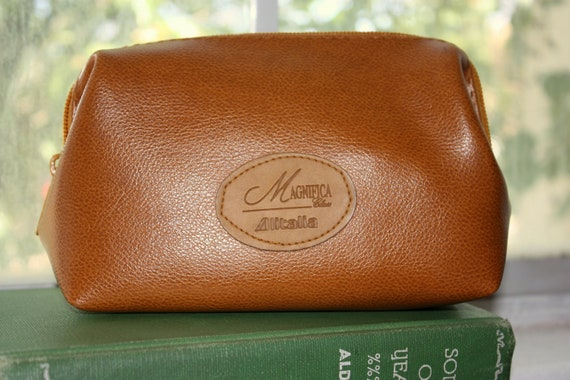 Made in Italy- Small Faux Leather Pouch Vintage Alitalia Airlines