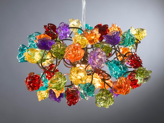Hanging lamp chandelier Rainbow color roses  for children room, hall, bathroom or even as a bedside light.